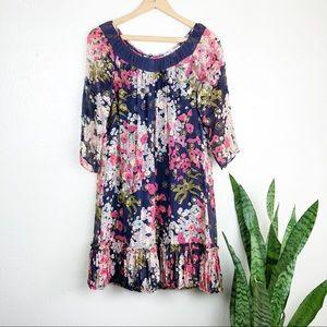 Rebecca Taylor Silk Crepe Floral Shift Dress
